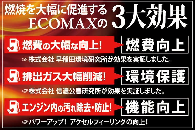 燃焼を大幅に促進する ECOMAXの3大効果